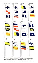 Flags used for Nelson's famous signal at the Battle of Trafalgar, 1805. Artist: Unknown