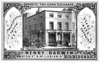 Henry Darwin tailor's shop, Birmingham, 19th century.Artist: T Underwood