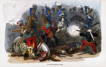 British 3rd Light Dragoons in action in India. Artist: Unknown