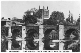 The bridge over the Wye and cathedral, Hereford, 1936. Artist: Unknown