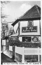 Ye Old Fighting Cocks Inn, St Albans, Hertfordshire, 1937. Artist: Unknown