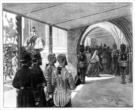 The Opening of Parliament, Westminster, London, 1866.Artist: William Barnes Wollen
