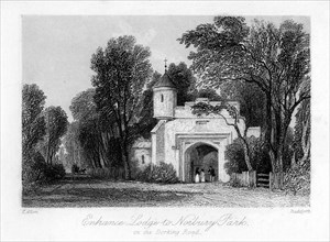Entrance Lodge to Norbury Park on the Dorking Road, Surrey, 19th century.Artist: B Radclyffe