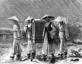 Palanquin bearers in rain costume, Korea, 19th century.Artist: Mario Azzopardi