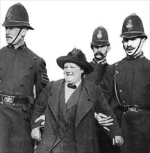 Mrs Flora Drummond, arrested in Hyde Park, London, 1914, (1935). Artist: Unknown