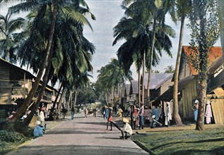 Street in Port Blair, Andaman and Nicobar Islands, Indian Ocean, c1890. Artist: Gillot