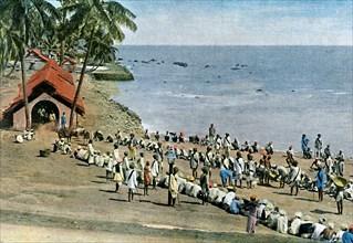 Communal village meal, Andaman and Nicobar Islands, Indian Ocean, c1890. Artist: Gillot