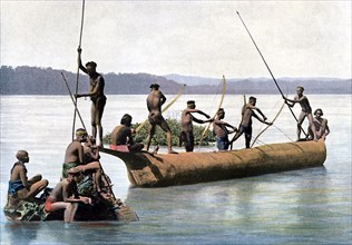Fishing with a bow, Andaman and Nicobar Islands, Indian Ocean, c1890.Artist: Gillot