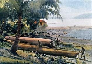 Building canoes, Andaman and Nicobar Islands, Indian Ocean, c1890. Artist: Gillot
