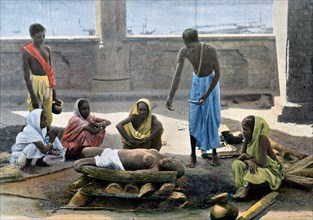 Cremation in India, c1890. Artist: Gillot