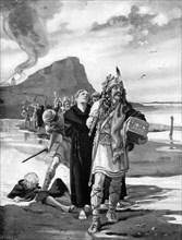 The plunder of Lindisfarne, Northumberland, 793 AD, (c1920). Artist: Margaret Dovaston