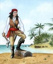 Mary Read, (1690-1720), British Pirate's Mate. Artist: Karen Humpage