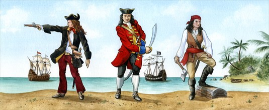 Anne Bonny, John 'Calico Jack' Rackam and Mary Read, 18th Century Pirates.Artist: Karen Humpage