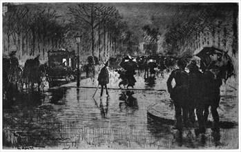 'Retour des Champs-Elysees', c1870-1900 (1924). Artist: Felix Hilaire Buhot