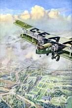 An aeroplane over London, 1926.Artist: GH Davis