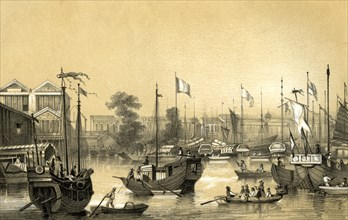 'The English factories at Canton', 1847. Artist: JW Giles