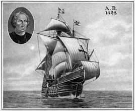 A duplicate of one of Christopher Columbus' sailing ships, 1922. Artist: Unknown