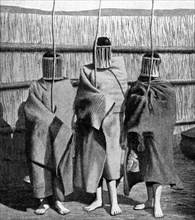 Basuto girl brides during a period of initiation into the adult tribal society, Lesotho, 1922. Artist: Unknown