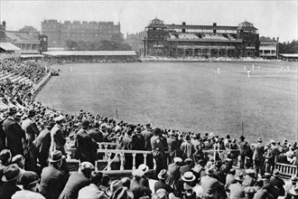 A cricket match, Lord's cricket ground, London, 1926-1927.Artist: McLeish