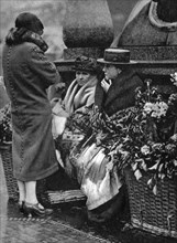 Flower sellers, Piccadilly Circus, London, 1926-1927. Artist: Unknown