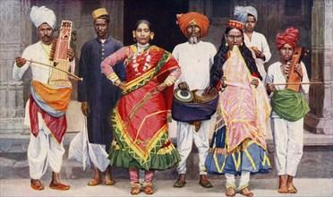 Nautch dancing girls with accompanying musicians, India, 1922.Artist: SR Norton