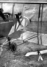 British biplane versus German Taube, First World War, 1914. Artist: Unknown