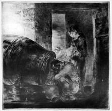 'The Cider Barrel', 1929. Artist: Edmund Blampied