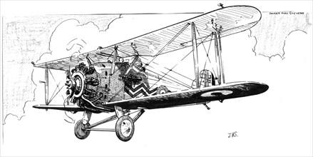 The Hawker Danecock aeroplane, c1920s.Artist: James Hay Stevens