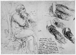 Studies of water eddies, c1513 (1954). Artist: Leonardo da Vinci