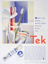 Advert for Tek toothbrushes, by Johnson and Johnson, 1931. Artist: Unknown