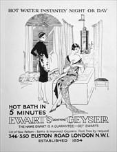 Advert for Ewart's Geyser for hot water, 1928. Artist: Unknown