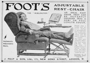 Advert for Foot's 'Burlington' adjustable rest-chair, 1916. Artist: Unknown