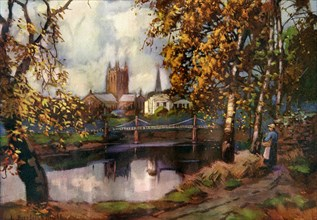 Hereford Cathedral, from the river walk, Herefordshire, 1924-1926.Artist: Louis Burleigh Bruhl