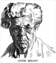 Annie Besant, British socialist and theosophist, 1926. Artist: Brill