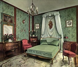 A bedroom from the reign of Louis XV Room, Hotel des Saints Pères, Paris, 1938. Artist: Unknown
