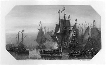 Piet Pieterszoon Hein brings in the silver fleet, Netherlands, 1629 (c1870). Artist: W Steelink