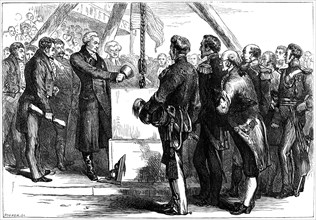 The Marquis de Lafayette laying the cornerstone of the Bunker Hill monument, 1825 (c1880).Artist: Hooper