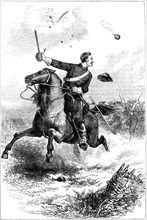 Captain Northrop leading the attack at Knoxville, Tennessee, American Civil War, 1863 (c1880). Artist: Unknown