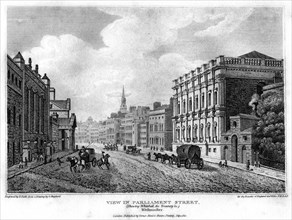 View in Parliament Street, Westminster, London, 1810.Artist: R Roffe