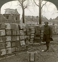 Abandoned German ammunitions near Cambrai, World War I, 1914-1918.Artist: Realistic Travels Publishers