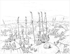 Mandan village, Upper Missouri, America, 1841.Artist: Myers and Co