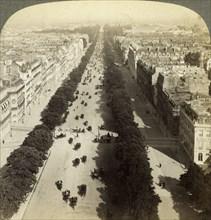 Champs Elysees from the Arc de Triomphe, Paris, France, 19th century.Artist: Underwood & Underwood