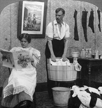 'The New Woman, Wash Day'.Artist: American Stereoscopic Company