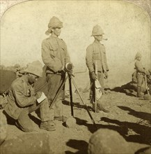 Signallers of the Yorkshire Regiment, New Zealand Hill, South Africa, Boer War, 1900Artist: Underwood & Underwood