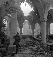 Church in ruins, Richebourg, France, World War I, 1914-1918.Artist: Realistic Travels Publishers