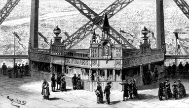 The pavilion of the Figaro, on the second storey of the Eiffel Tower, Paris, 1889. Artist: Unknown