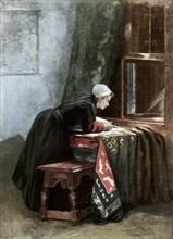 'A Dutchwoman Cutting Cloth', 1889. Artist: Unknown