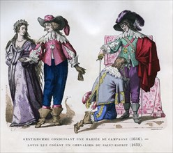 A gentleman leading a country bride,1636, and Louis XIII creating a knight, 1633 (1882-1884)Artist: Tamisier