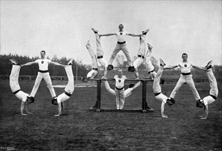 Display by the Aldershot gymnastic staff, Hampshire, 1896. Artist: Gregory & Co