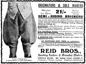 Advert for Reid Bros, Sporting Tailors & Breeches Makers. Artist: Unknown